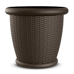 Suncast Willow 22' Resin Wicker Planter 2 pc Set