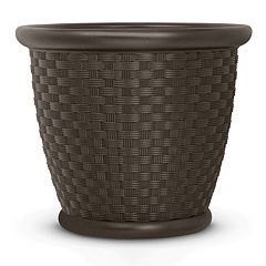 Suncast Sonora 22' Resin Wicker Planter 2-piece Set