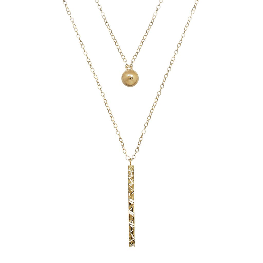 Everlasting Gold 10k Gold Ball & Stick Layered Necklace