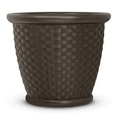 Suncast Sonora 18' Resin Wicker Planter 2-piece Set