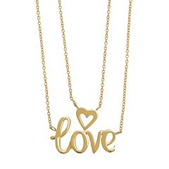 Everlasting Gold 10k Gold 'Love' Layered Necklace
