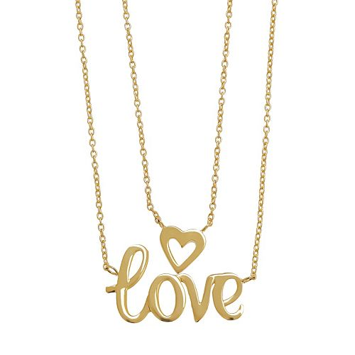 "Everlasting Gold 10k Gold ""Love"" Layered Necklace"