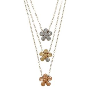 Everlasting Gold 10k Gold Flower Layered Necklace