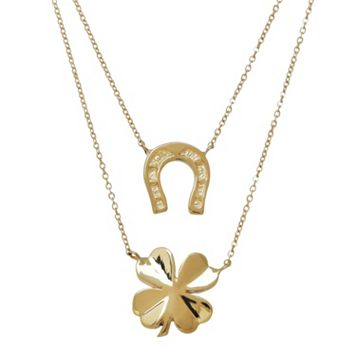 Everlasting Gold 10k Gold Horseshoe & Four-Leaf Clover Layered Necklace