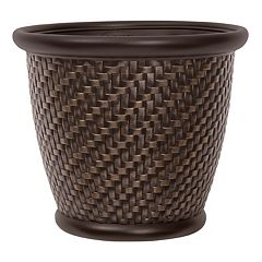 Suncast Herringbone 18' Resin Wicker Planter 2-piece Set