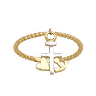 Everlasting Gold 10k Gold Cross Charm Ring