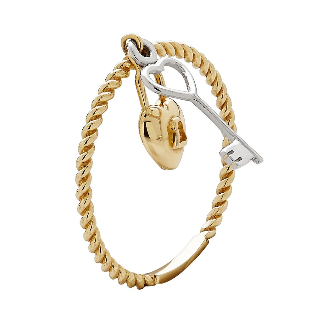 Everlasting Gold 10k Gold Lock & Key Charm Ring