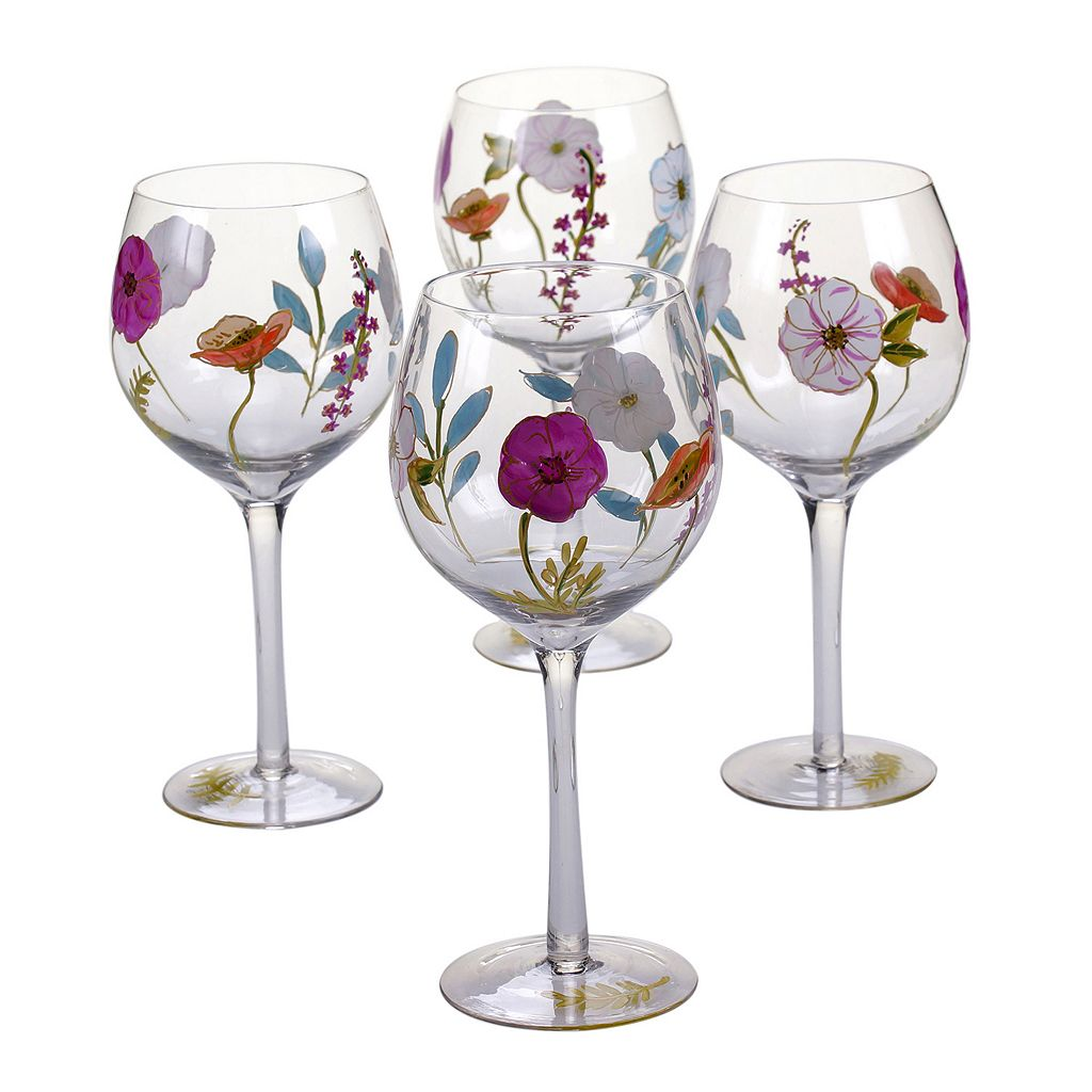 Certified International Rainbow Seeds 4-pc. Hand Painted Wine Glass Set