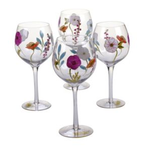 Certified International Rainbow Seeds 4-pc. Hand Painted Wine Glass Set