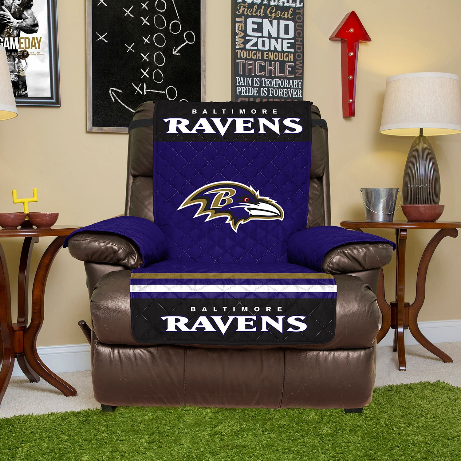 Ravens Quilted Recliner Chair Cover