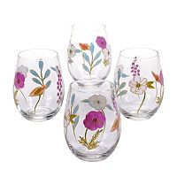 Certified International Rainbow Seeds 4-pc. Hand Painted Stemless Wine Glass Set