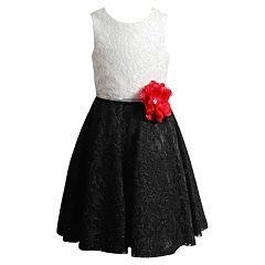 Girls 7-16 Emily West Black & White Crochet Lace Dress