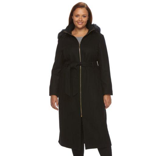 Plus Size Braetan Faux-Fur Wool-Blend Coat