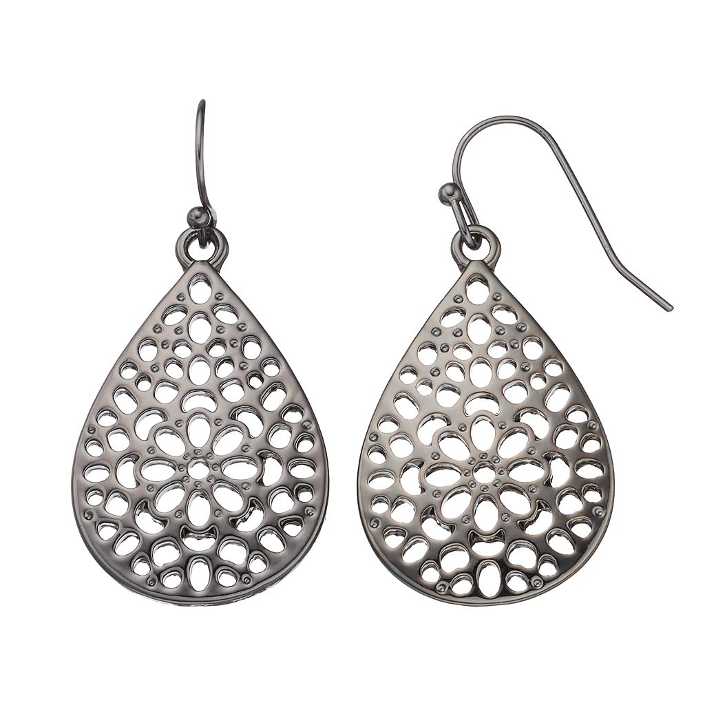 Openwork Flower Teardrop Earrings