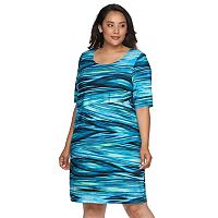Plus Size Connected Apparel Asymmetrical Shift Dress