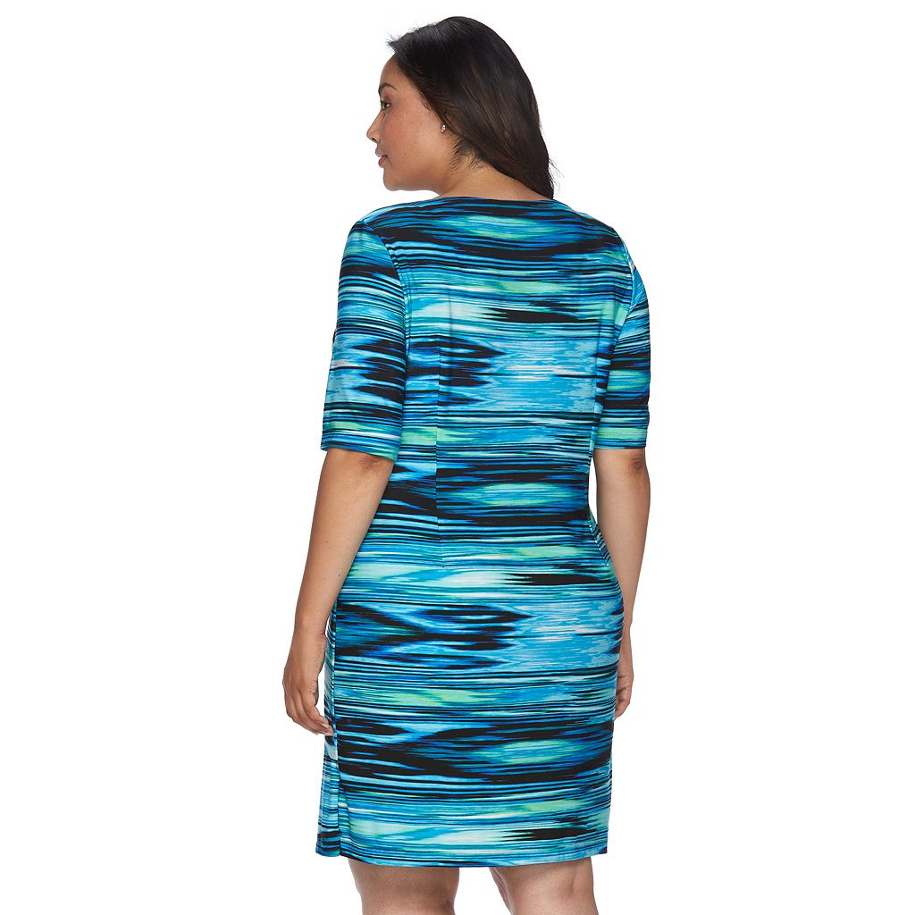 Plus Size Connected Apparel Asymmetrical Shift Dress
