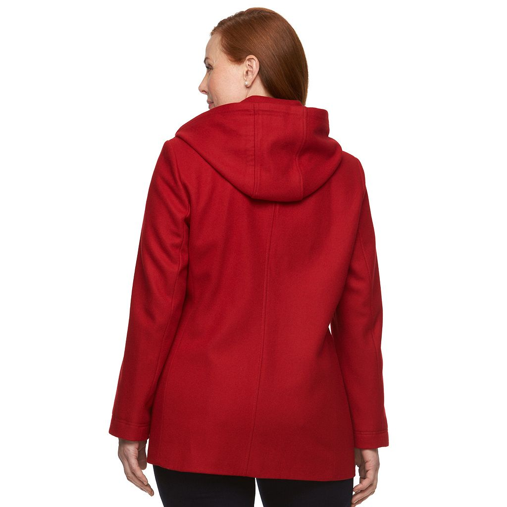 Plus Size Braetan Hooded Double-Breasted Peacoat