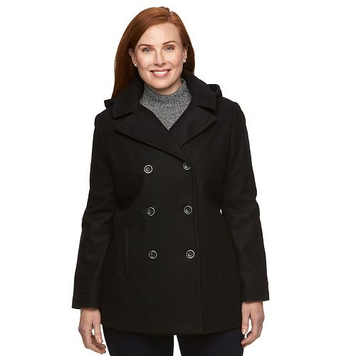 8429d8617593 Plus Size Braetan Hooded Double-Breasted Peacoat