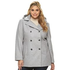 Womens Grey Hooded Peacoat Coats & Jackets - Outerwear, Clothing ...