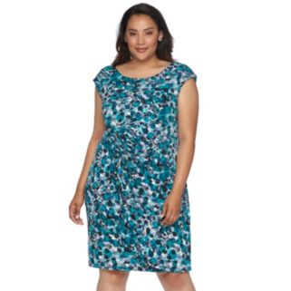Plus Size Connected Apparel Dotted Sarong Dress
