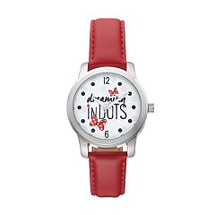 Disney's Minnie Mouse 'Dreaming in Dots' Women's Leather Watch