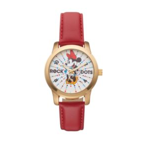 """Disney's Minnie Mouse """"Rock the Dots"""" Women's Leather Watch"""