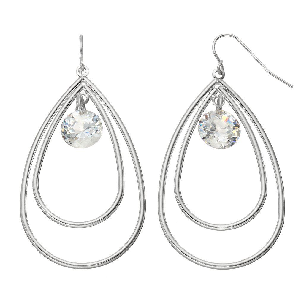 Cubic Zirconia Nickel Free Double Teardrop Earrings