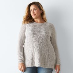 Plus Size SONOMA Goods for Life™ Cable-Knit Swing Sweater