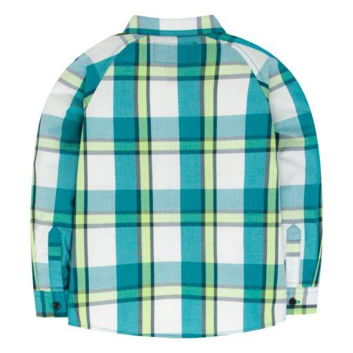 Toddler Boy Hurley Raglan Patterned Button-Down Shirt