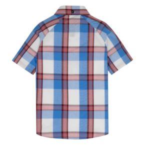 Toddler Boy Hurley Raglan Woven Plaid Button-Down Shirt