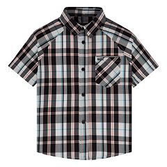 Toddler Boy Hurley Raglan Woven Plaid Button-Down Shirt