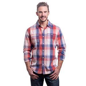 Men's Lee Classic-Fit Plaid Textured Button-Down Shirt