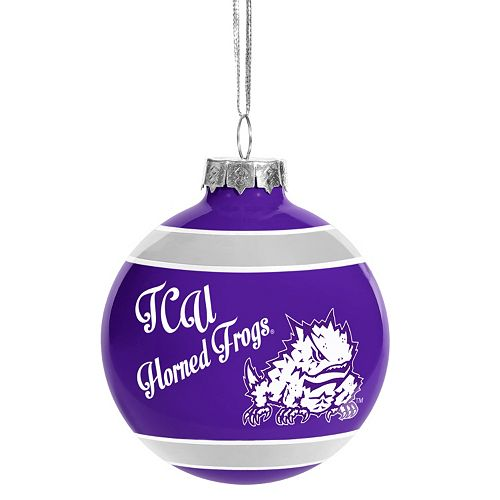 """Forever Collectibles """"Happy Holidays"""" TCU Horned Frogs Glass Ball Christmas Ornament"""