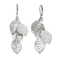 Openwork & Textured Leaf Cluster Drop Earrings