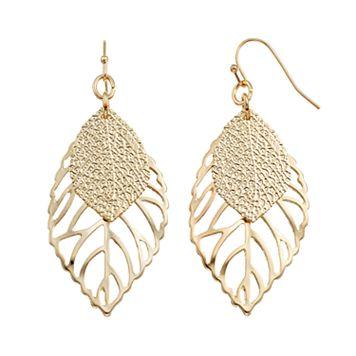 Textured & Cutout Leaf Drop Earrings
