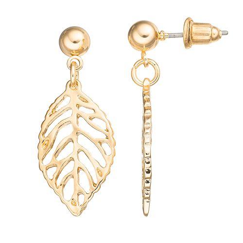 Apt. 9® Openwork Leaf Drop Earrings