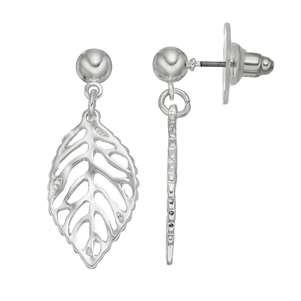 Openwork Leaf Drop Earrings