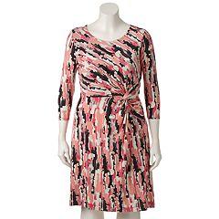 Plus Size Dana Buchman Printed Twist-Front Dress