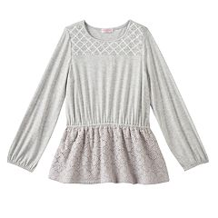 Girls 4-6x Design 365 Criss-Cross Stitched Yoke Long Sleeve Tunic