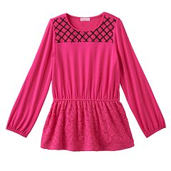 Girls 4-6x Design 365 Criss-Cross Stitched Yoke Long Sleeve Tunic