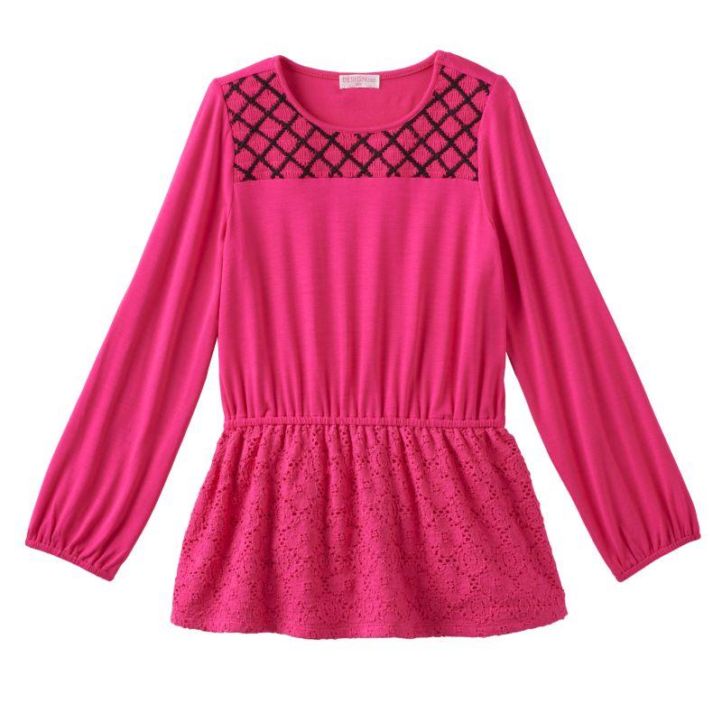 Cross stitched yoke long sleeve tunic girl s size 4 light red