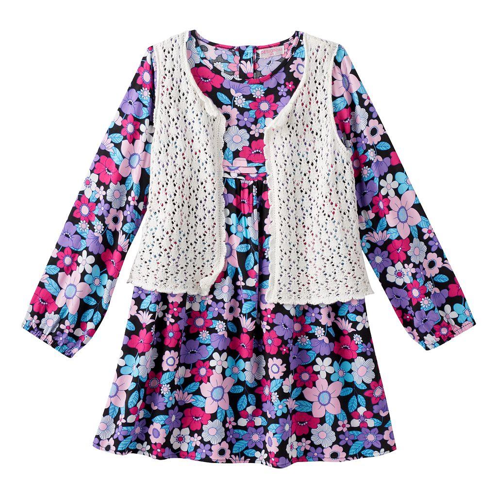 Girls 4-6x Design 365 Crochet Lace Vest & Floral Dress Set