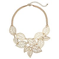 Openwork Leaf Statement Necklace