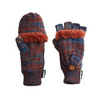 Women's MUK LUKS Ribbed Convertible Flip-Top Tech Mittens