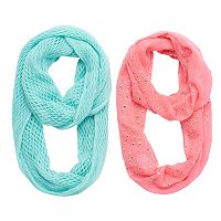 Girls 4-16 2 pkStudded Star & Solid Knit Infinity Scarves