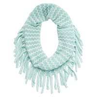 Girls 4-16 Two-Tone Metallic Chevron Knit Fringe Infinity Scarf