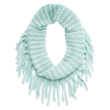 Girls 4-16 Two-Tone Metallic Chevron Knit Fringe Infinity Scarf