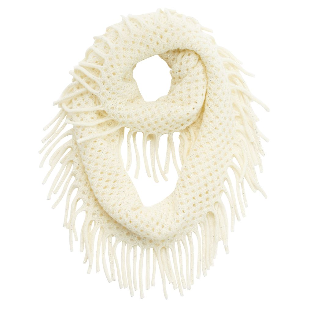 Girls 4-16 Metallic Knit Fringe Infinity Scarf