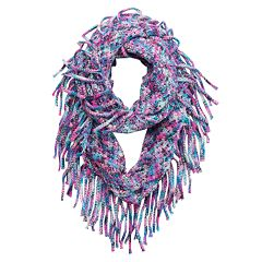 Girls 4-16 Metallic Space-Dyed Knit Fringe Infinity Scarf