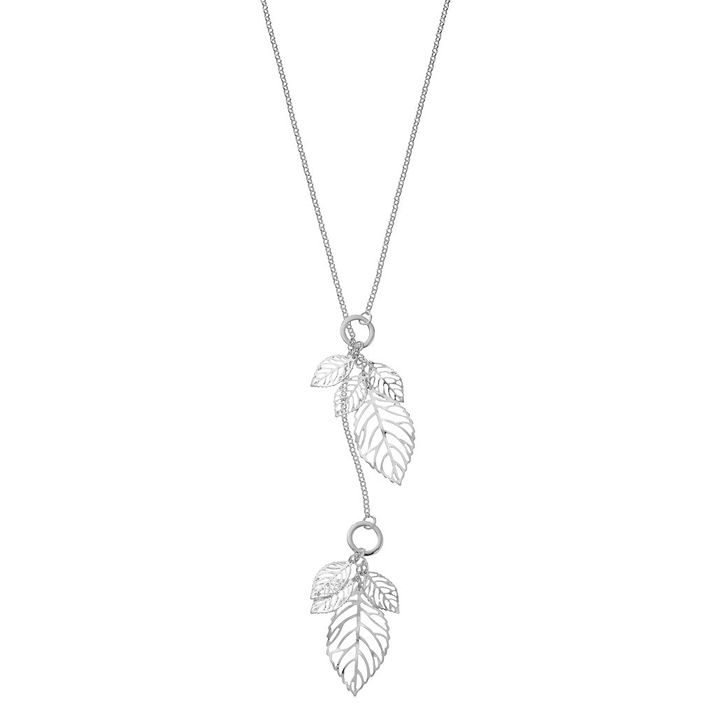 Openwork Leaf Cluster Lariat Necklace
